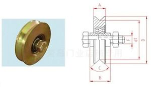 2 Pk 3 Steel V Track Groove Gate Wheel W Bolt Single Pulley Bearing Gold Color