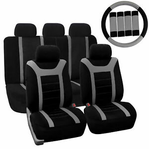 Car Seat Cover For Auto Full Set W steering Wheel Cover belt Pads 5heads Gray