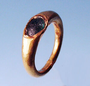 Roman Gold Ring With Green Glass Inlay Ancient Art Antiquities
