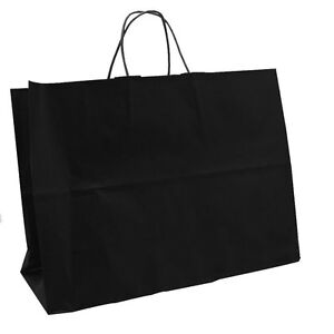 50 Large Black Tote Handle Merchandise Retail Shopping Bags 16 X 6 X 12