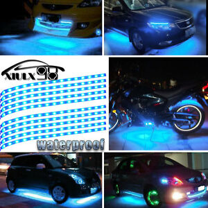Blue led light strip oem new and used auto parts for all model 10x ice blue 10x ice blue 12 15leds car motor boat flexible strip light underbody trunk 12v aloadofball Choice Image