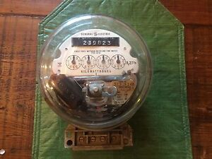 Vtg General Electric Single Phase Watt Hour Meter With Timer Switch I R 50 Type