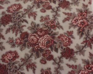French Antique 1870 Floral Rose Chintz Fabric Home Design Quilters L 100 X W 34