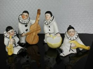 Antique Pierrot Clown Miniature Band Porcelain Figures Tiny Dolls Marked Germany