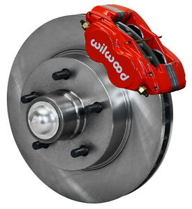 Wilwood Disc Brake Kit front 1957 1960 Cadillac 11 88 Rotors red Calipers