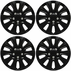 4pc Hub Cap Black Matte 17 Inch For Oem Rim Wheel Replica Cover Covers Caps