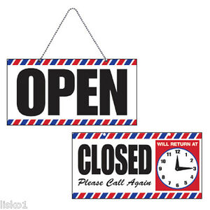 Barber Shop Open close Sign W chain Suction Cup Mount Adjustable Clock