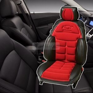 Bowtie Emblem Logo Bucket Seat Cushion Cover Red For Chevrolet 2011 2016 Aveo