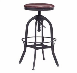 Antique Slim Style Barstool In Burgundy Leatherette W adjustable Seat Height