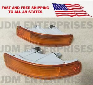 Toyota Corolla 1993 1997 Ae100 Jdm Short Style Bumper Lights Amber Frost Pair
