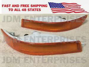 Toyota Corolla 1993 1997 Ae100 Jdm Long Style Bumper Lights Amber Frost Pair