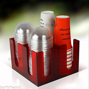 Cup And Lid Dispenser Holder Orginizer Coffee Caddy Cup Counter Party 4sl Red