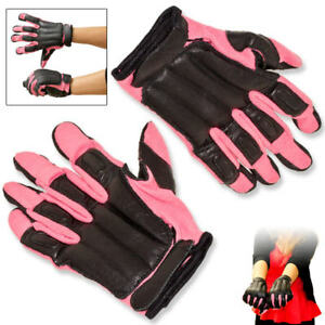 New Genuine Sap Gloves Real Black Leather With Pink Nylon Comfortable Size L