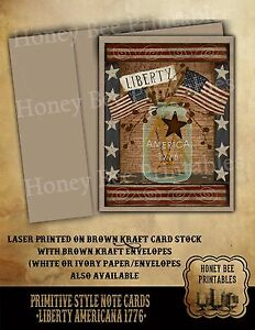 Primitive Folk Art Note Cards Brown Kraft W Env Liberty Patriotic Americana