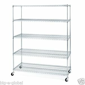 Rolling Commercial Garage Metal Storage Wire Shelving Shelf Rack 60 X 24 X 72