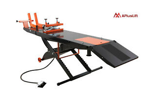 Apluslift 1500lb Air Operated Motorcycle Atv Lift Table Mt1500 No Side Ext