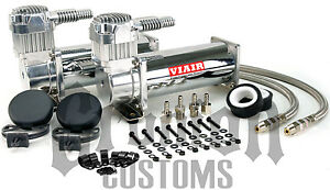 444c Chrome Compressors Dual Pack Viair Low Ride Customs Air Bag Chevy C10
