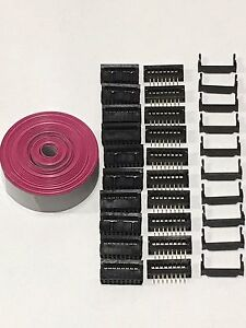 Flat Cable 16 Pins Wires Idc Ribbon 1 27mm Pitch 12ft Cable 10 Sets Connectors