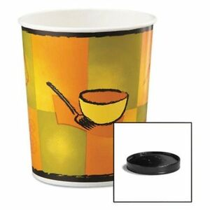 Huhtamaki 71853 Soup Food Containers W vented Lids Streetside Pattern 32 Oz