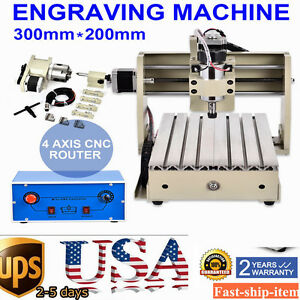 4 Axis 3020 Cnc Router Engraver Engraving Drilling milling Machine 3d Cutter