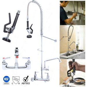 Commercial Kitchen Wall Mount Pre rinse Faucet W 38 Flexible Copper Hose