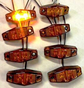 8 Pcs Super Bright Amber Led Clearance Marker Light 1 X2 5 For Truck Trailer