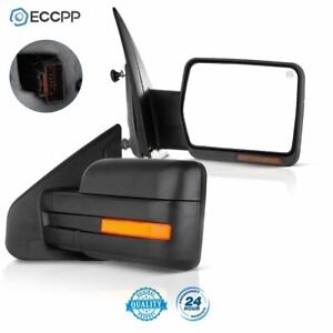 For 07 14 Ford F 150 Power Heated Led Signal Light Towing Side View Mirrors Pair
