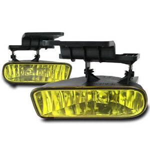 Chevy 1999 02 Silverado 2000 06 Suburban Tahoe Yellow Fog Light W switch New Set