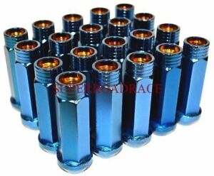 Nnr Extended Steel 70mm Open Ended Lug Nut Set Of 20 12x1 5 Neo Blue