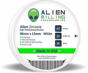 Alien Dental Zirconia Block Puck Disk 98mm X 12mm White Made In Usa