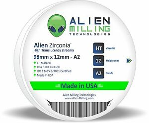 Alien Dental Zirconia Block Puck Disk 98mm X 12mm Pre shaded A2 Made In Usa