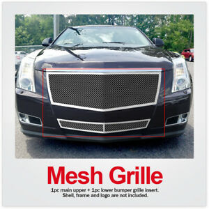 For 08 13 2012 2013 Cadillac Cts Stainless Mesh Grille Combo