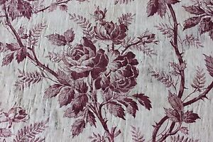 Beautiful Madder Printed Antique French Rose Floral Toile Fabric Panel C1870