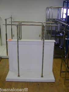 Retail Store Fixture White 6 Section Garment Display Clothing Rack
