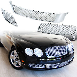 For Bentley Continental Flying Spur 05 09 Front Bumper Lower Mesh Grille Chrome