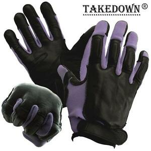 Genuine Sap Gloves Real Black Leather With Purple Nylon Comfortable Size Xl