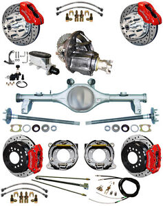 New Suspension Wilwood Brake Set currie Rear End posi trac Gear 78 88 Gm red d