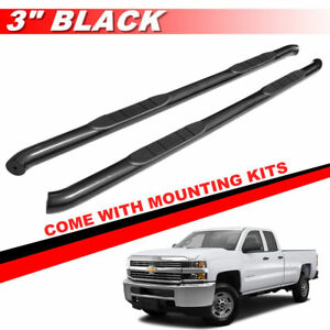 3 Black Nerf Bars Running Boards For 2007 2018 Silverado Extended Double Cab