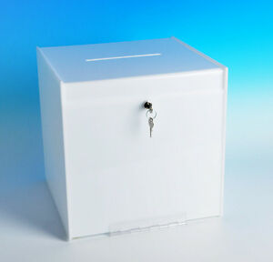 Ballot Box White 12 Large Locking Suggestion Box Collection Box Drop Box