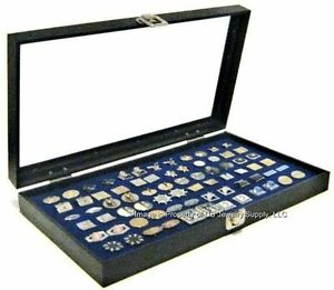 6 Wholesale Glass Top Lid Blue Cufflinks Display Mens Jewelry Organizer Cases