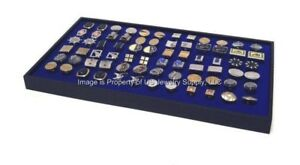 6 Large Blue Cufflinks Organizer Storage Display Black Stackable Trays