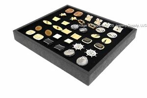12 New Cufflinks Storage Display Black Stackable Trays