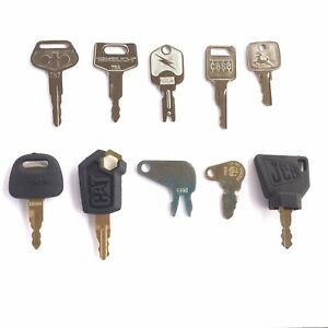 Heavy Equipment Key Set 10 Keys Case Cat Jd Komatsu Hitachi Takeuchi Oem Logo