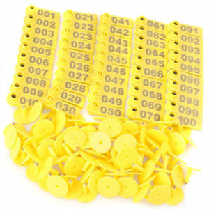 1 100 Number Livestock Ear Tag Label Marker Yellow Plate For Cow Pig Goat 100pcs
