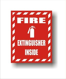 Industrial Safety Decal Sticker Fire Extinguisher Inside Fire Label set Of 2