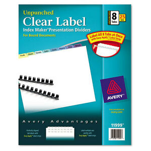 New Avery 8 tab Multicolor Clear Label Unpunched Dividers 25pk 11999