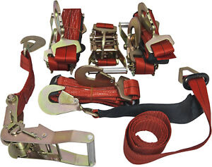 4 Axle Straps Car Carrier Tie Down Straps With Ratchets Tow Straps Red