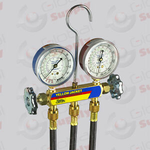Yellow Jacket 41702 Series 41 Manifold 2 5 Gauges 60 Hd Hoses R 410a