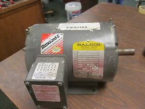 Baldor Double shafted Motor M3546t 1hp 1740rpm 143t Frame 230 460v 2 8 1 4a Used