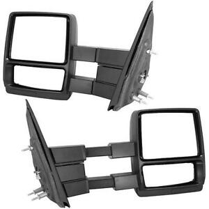 For 04 14 Ford F150 Pickup Truck Towing Manual Telescoping Mirrors Pair Set